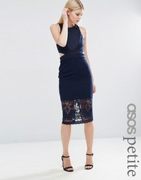 Платье-футляр миди с кружевной отделкой и вырезом сзади ASOS PETITE