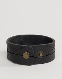 Черный кожаный браслет-манжета Diesel A-Hustle - Черный