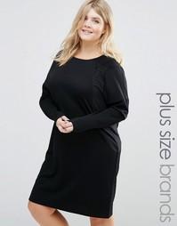 Фактурное цельнокройное платье с длинными рукавами Junarose - Черный