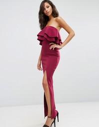 Платье-бандо макси с рюшами ASOS Premium - Темно-бордовый