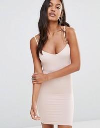 Бесшовное платье-комбинация Free People - Нежно-розовый
