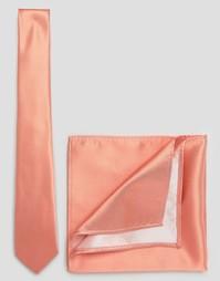 Коралловые свадебные галстук и платок для пиджака ASOS - Коралловый