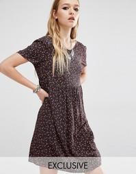 Винтажное цветочное платье с короткими рукавами и присборенной юбкой R Reclaimed Vintage