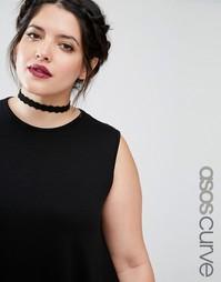 Ожерелье-чокер с резной отделкой ASOS CURVE - Черный