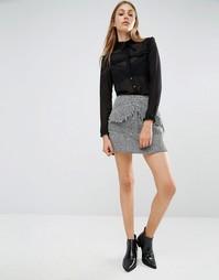 Твидовая мини-юбка с карманами спереди Lost Ink - Серый