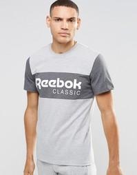 Серая футболка в полоску с круглым вырезом Reebok Archive AY1154