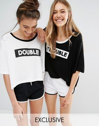 Chelsea Peers Double Trouble 2 Pack Night Tees - Черно-белый