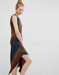 Асимметричное платье миди из жаккардовой ткани в горошек BCBG Max Azri