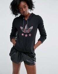 Худи узкого кроя с логотипом Adidas - Черный