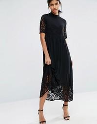 Платье миди с кружевными вставками Vero Moda - Черный