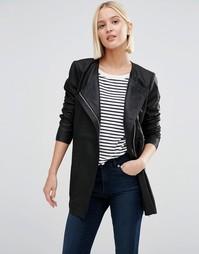 Удлиненная кожаная куртка Selected - Черный