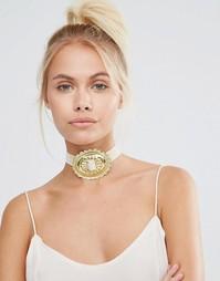 Массивное ожерелье-чокер Rock N Rose Concho - Кремовый