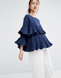 Блузка с плиссированными оборками Zacro - Темно-синий