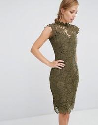 Кружевное платье с высоким воротом Paper Dolls - Хаки