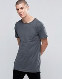 Серая удлиненная футболка Selected - Серый