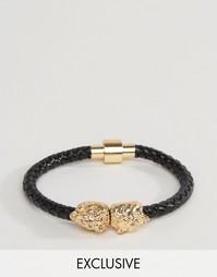 Черный кожаный браслет с головами льва Reclaimed Vintage - Черный