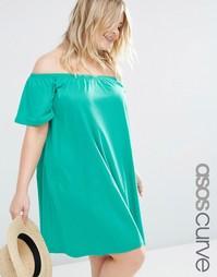 Платье в стиле бохо с открытыми плечами ASOS CURVE - Зеленый