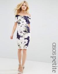 Облегающее платье миди с цветочным принтом и открытыми плечами ASOS PE