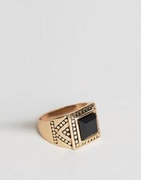 Кольцо с черным квадратным камнем Reclaimed Vintage - Золотой