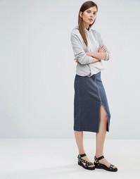 Трикотажная юбка‑карандаш Selected - Темно-синий