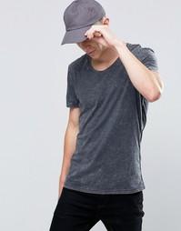 Черная окрашенная футболка с эффектом кислотной стирки Selected