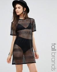 Сетчатое платье‑футболка с выжженным эффектом Missguided Tall - Черный