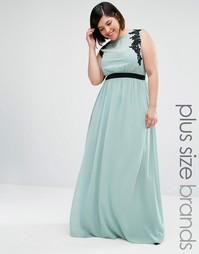 Платье макси без рукавов с вышивкой Little Mistress Plus - Зеленый
