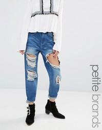 Рваные джинсы с отворотами Boohoo Petite - Деним