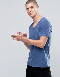 Синяя окрашенная футболка с эффектом кислотной стирки Selected - Синий