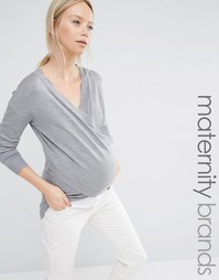 Джемпер для беременных и кормящих с запахом Mamalicious - Серый Mama.Licious