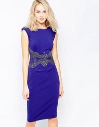Платье-футляр с отделкой Little Mistress - Синий