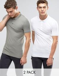 2 футболки-поло (белый/зеленый) ASOS - СКИДКА 15%
