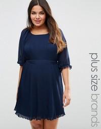 Koko Plus Pleated Dress With Tie Belt - Темно-синий