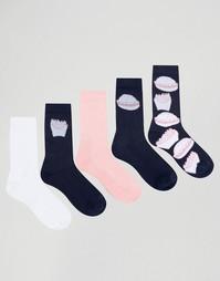 Набор из 5 пар носков с принтом фаст-фуд ASOS - Мульти