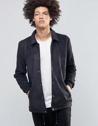 Черная тренерская куртка из искусственной замши ASOS - Черный