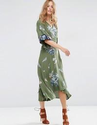 Платье миди с запахом и вышивкой ASOS - Хаки