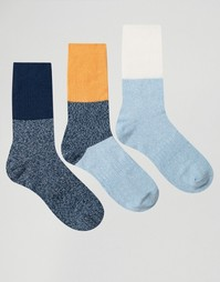 Набор из 3 пар толстых носков колор блок в рубчик ASOS - Мульти