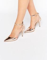 Туфли на каблуке с острым носом ASOS SCOUT - Телесный металлик