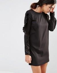 Цельнокройное платье с рюшами на рукавах Daisy Street - Черный