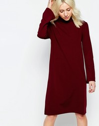 Платье с воротником поло и расклешенными рукавами Neon Rose - Wine