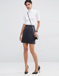 Мини-юбка в полоску с ремешком ASOS - Черный