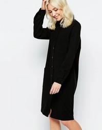 Платье-рубашка миди Neon Rose Drill - Черный