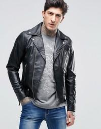 Кожаная куртка с молниями Diesel - Черный