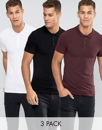 Набор из 3 футболок-поло ASOS - СКИДКА 20%