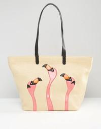 Сумка-шоппер с фламинго Gracie Roberts - Естественный