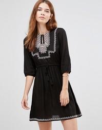 Платье с вышивкой Diya - Черный