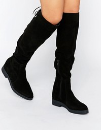 Pieces Darby Suede Flat Knee Boots - Черный замшевый