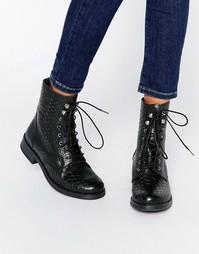 Кожаные рабочие ботинки с тиснением под кожу крокодила Pieces Ibi