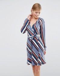 Платье с запахом в диагональную полоску Vila - Folkstone gray combo