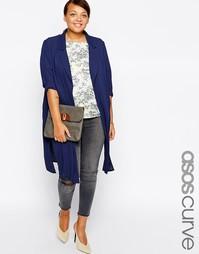 Мягкий пиджак из легкого крепа ASOS CURVE - Темно-синий